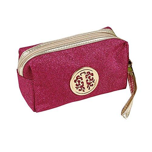 Trousse de voyage à paillettes pour femmes, tendance, pochette de maquillage multifonction rose rouge taille unique