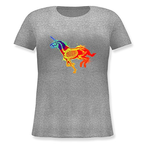 Shirtracer Einhörner - Einhorn Skelett - Lockeres Damen-Shirt in Großen Größen mit Rundhalsausschnitt Grau Meliert
