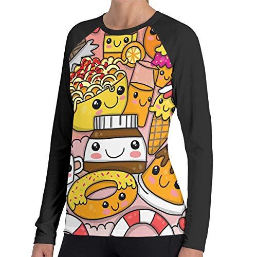 Herren Langarm Classic T-Shirt, Women's Casual Doodle Fast Food Long Reglan Jersey T Shirts -
