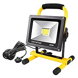 Ustellar 30W LED Work Light (200W Equivalent) 2400lm, 5m Wire with Plug, IP65 Waterproof Rotatable Construction Site Spotlight, Outdoor Stand Detachable Flood Light for Workshop, 230V, 6000K Daylight, Black/Yellow