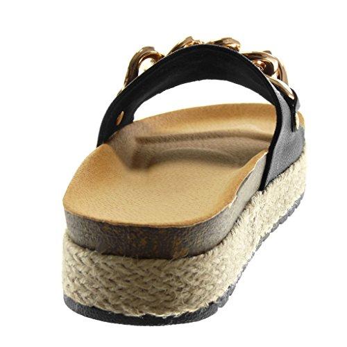 ddc00af7541f ... Angkorly Chaussures Mode Mules Sandales Slip-on Wedges Femme Chaîne  Doro Rope Wedge Talon Plateforme