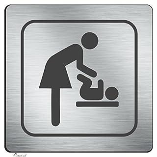 Wickelraum Schild - Toiletten und Wickelraum Schild im Direktruck auf 3 mm Aluminium Verbund Schild - Wetterfester Druck 12 x 12 cm - abgerundete Ecken mit Klebepunkten zur optimalen Befestigung - rückstandslos entfernbar!