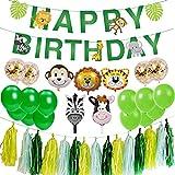 Ohighing Kindergeburtstag Deko Set Happy Birthday Girlande Urwald Party Jungen Kinder Geburtstag Kinderzimmer Kindergarten Dekoration
