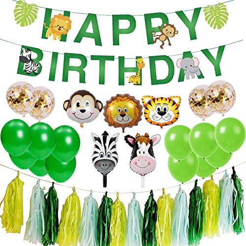 Ohighing Kindergeburtstag Deko Set Happy Birthday Girlande Urwald Party Jungen Kinder Geburtstag Kinderzimmer Kindergarten Dekoration