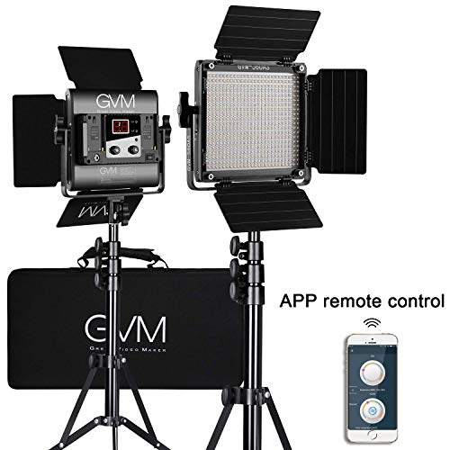 GVM 2 Stück 560 LED Videoleuchten/Studio Lights Kit mit Licht Stativ CRI 97 2300K-6800K App Fernbedienung LED Kamera Licht für Studio YouTube Videofotografie, LED Video Licht 2 Light Studio Kit