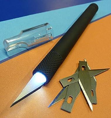 PROFI Präzisionsmesser Skalpell mit POWER LED Licht + 5 Klingen TOP QUALITÄT von WIM-SHOP