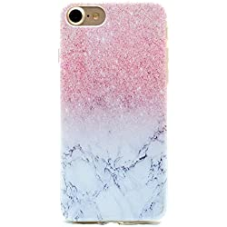 HopMore Funda iPhone 6S Plus / 6 Plus Transparente Motivo Kawaii TPU Gel One Piece Ultrafina Slim Case Antigolpes Caso Protección Cover Carcasa Dibujos para iPhone 6S Plus / 6 Plus Design Gracioso - Mármol Rosado
