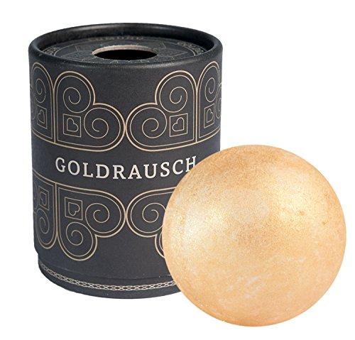 Deluxe Badebombe Goldrausch, 180 Gramm schwere XXL Badekugel mit pflegender Shea Butter, vegan & tierversuchsfrei