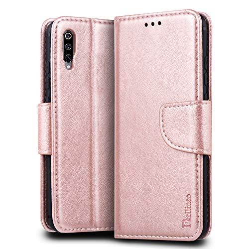 Ferilinso Funda para Xiaomi Mi 9,Caja de Cuero PU con la Ranura de la Tarjeta de crédito Kickstander Cubierta Soporte Soporte de Cierre para Xiaomi Mi 9 (Oro Rosa)