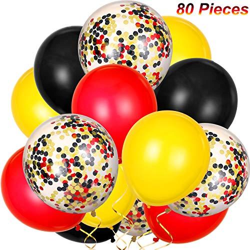 80 pezzi palloncini in lattice palloncini di coriandoli colorato festa palloncini per natale san valentino san patrizio, 12 pollici (rosso, giallo, nero)