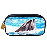 Orrinsports - Astuccio scolastico, con splendida stampa di animale, ideale per la scuola, studenti, ufficio o come borsetta porta trucchi per ragazze Dolphin
