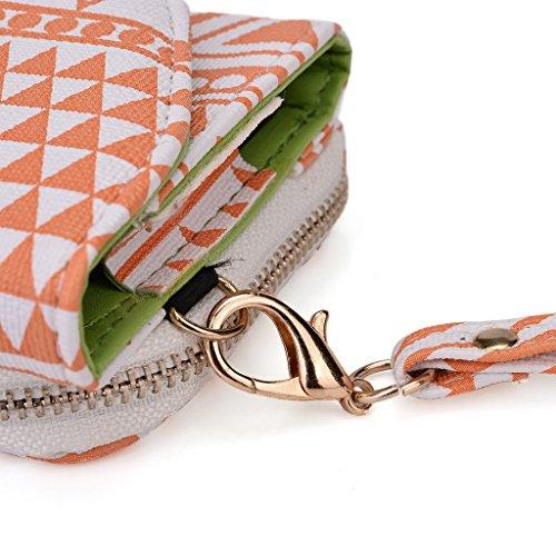 Kroo d'embrayage avec dragonne Portefeuille 16cm Smartphones et phablettes pour Motorola Nexus 6 Multicolore - White and Orange Multicolore - White and Orange
