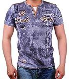 Verwaschenes T-Shirt Camp Vlnt Slim Fit (Bis 5XL) LG-003 (4XL-Slim, Grau)
