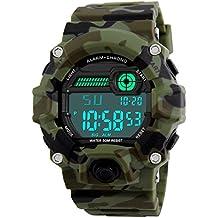Niños de los relojes digitales, niños deporte Militar reloj con alarma/temporizador/resistente a golpes, Niños 5 bares resistente al agua camuflaje electrónica reloj de pulsera para niños por BHGWR
