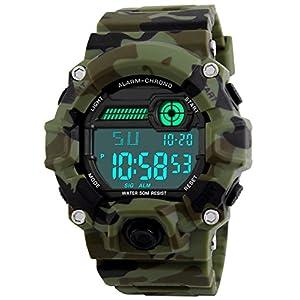 BHGWR Kinder und Jugendliche Digital Quarz Uhr mit Silikon Armband Militär Sportuhr mit Alarm/Timer/stoßfest Großes Gesicht Camouflage Elektronische 5 Bars Wasserdicht Digitaluhren für Jungen