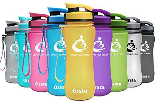 sche 20oz-600ml - Wasserflasche Auslaufsicher, Eco Friendly BPA Frei Tritan Kunststoff Flaschen mit Frucht Filter, Sporttrinkflasche für Kinder, Gym, Yoga, Laufen, Camping, Büro (Gelb) (Infuser Trinkflasche Gelb)
