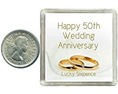 Idea Regalo - Oaktree Gifts - Portafortuna 6 pence in argento per 50° anniversario di matrimonio, nozze d'oro. Include scatola da regalo, perfetta idea regalo