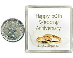 idea regalo oaktree gifts portafortuna 6 pence in argento per 50 anniversario di