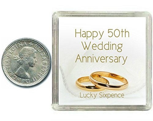 Lucky Silver Sixpence Coin 50th Golden Wedding Anniversary Gift, great present idea