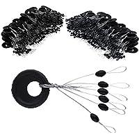 VIPMOON Small Fishing Rubber Bobber Beads Stopper, 6 en 1 paradas de lavabo de flotador, negro Oval Float Stop Available-100 piezas