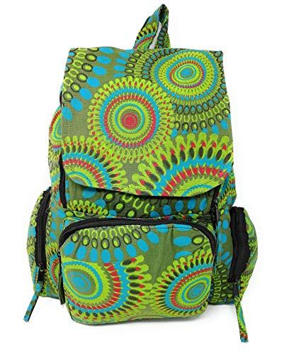 Mochila Hippie Etnica Mujer Chica Mandala Amplia 45 Cm x 30 Cm x 15 Cm Novedad AceMonkey (More Green)