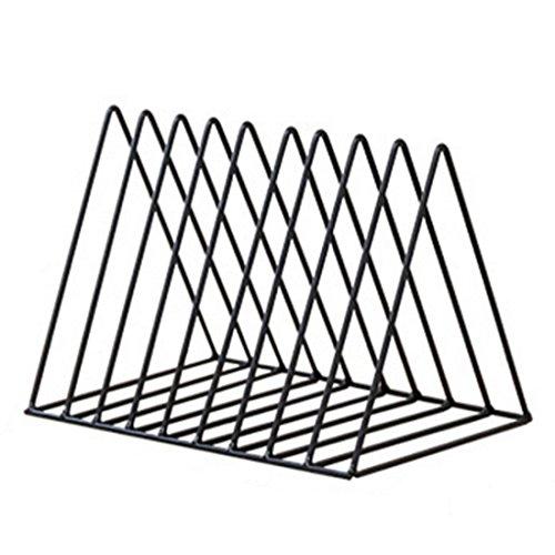 OIURV Dreieck Bücherregal Desktop, CD-Ständer Eisen Kunst Entwurf Display Regal Tischorganizer Storage Rack - (Schwarz) -