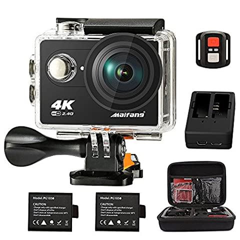 Maifang Sports Camera, Waterproof 4K WIFI Action Camera With Remote, 2.0 Inch LTPS Screen 1080P 60FPS 12MP Action Cam 170 Degree Fish-eye Lens With 2 batteries Camera