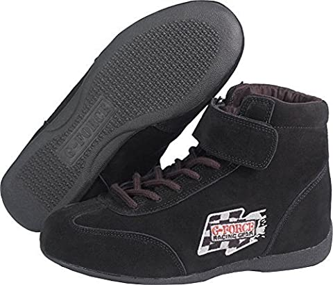 G-Force Racing Gear 0235BK8 GF235 RaceGrip Mid-Top Shoes Black Size 8