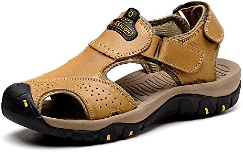 SunnyBaby Männer echtes Leder Strand Sandalen schneiden atmungsaktive Perforation Vamp rutschfeste weiche Sohle