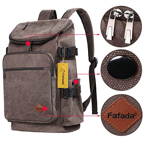Fafada Zaino per Scuola con scompartimento per PC portatili in stile vintage (Blu) Retrò Caffè