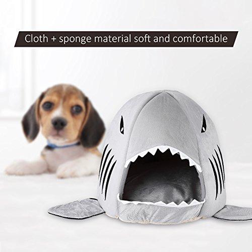 Filfeel Hunde-Höhle Hunde-Haus Katze Soft Cave Modische Shark Form Warm Schlaf Bett Gemütliche Nest Matte Pad Kissen Zelt Für Haustier Indoor 16,54 '' x 16,54 '' (Grau)