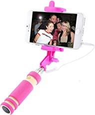 Lambent Mini Pocket Sized Selfie Stick with AUX Cable for Android/iOS Phones - Assorted Colors