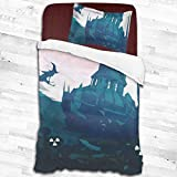 peitie104 Duvet Cover Set Fantasy Art Witch Riding A Broom 3D Quilt Reversible Bedding Sets Comforter Bedspread Set Twin Size 2 Piece with Pillow Cases for Teens Kids