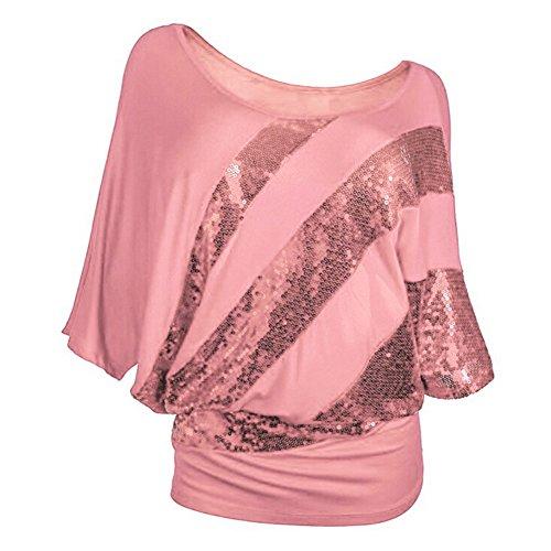 iBaste Damen T-Shirt mit Pailletten Aufdruck Fledermaus Bluse 3/4-Arm Oberteil Rosa