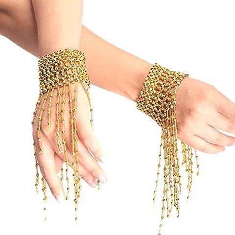 Fletion 1 Paar Mode Bauchtanz Armband Party Quaste Retro Bracelet Handgelenk Arm Kostüm Schmuck (Designer Bauchtanz Kostüme)
