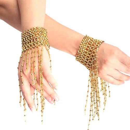Fletion 1 Paar Mode Bauchtanz Armband Party Quaste Retro Bracelet Handgelenk Arm Kostüm Schmuck (Professionelle Kostüme Designer Tanz)
