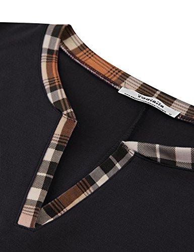Damen Sommer Bluse mit kontrastiertem Kragen mit Taschen Ärmellos Locker sitzend Faltensaum Tunika Shirts Tops Schwarz