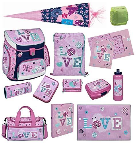 Familando Scooli Schulranzen-Set rosa Butterfly Ladybug Love 13 TLG. mit Sporttasche, Schultüte 85cm und Regenschutz