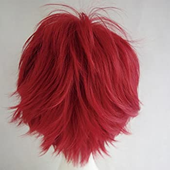 Cosplay Wigs Short Anime Costume Party Full Wigs Dark Red Fashion Straight Synthetic Hair For Women Men 3