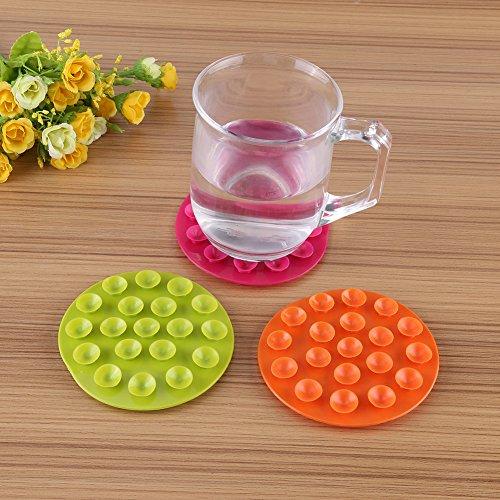Zerodis Kindergeschirr Saugnäpfe Matte Sucker Anti-Rutsch Doppelseitig Teller Schüssel Besteck Tischset Tragbar(Orange)