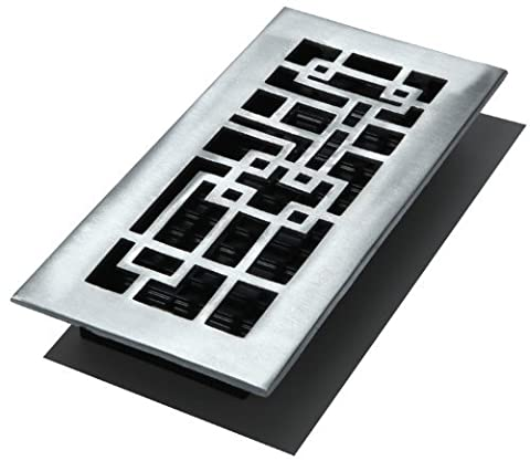 Decor Grates ABA410-NKL 4-Inch by 10-Inch Abstract Aluminum Nickel Floor Register, Cast Aluminum with Brushed Nickel Finish by Decor Grates