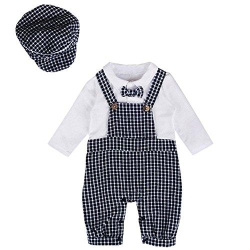 Amcool Schön Baby Suit Baby Strampler Outfits Gentleman Gürtel Baby Born Bekleidung für Jungen (0-6 Monate, Weiß) (Suiten Für Jungen)