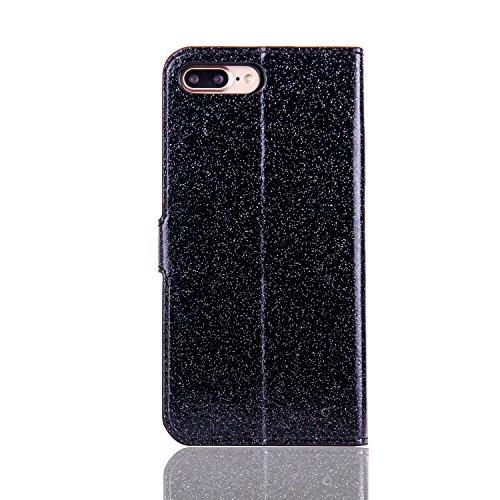 Lusso Wallet Case per iPhone 6Plus, MAOOY iPhone 6sPlus Moda Sparkle Shiny Cristallo Rhinestone Cassa, iPhone 6Plus/6sPlus Libro Portafoglio Custodia con Magnatic Closure & Carta di Credito & Basament Nero 1