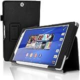 igadgitz Premium Folio Noir PU Cuir Etui Housse Case Cover pour Sony Xperia Z3 Tablet Compact SGP661 avec Support Multi-Angles + Mise en Veille / Réveil + Support pour le Stylet + Courroie De Main + Film de Protection