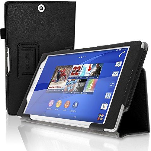 igadgitz Schwarz PU Ledertasche Hülle Folie für Sony Xperia Z3 Tablet Compact SGP661 mit Multi-Winkel Betrachtungs + Auto Sleep/Wake + Handschlaufe + Stylus-Stift Elastischen Halter + Displayschutzfolie