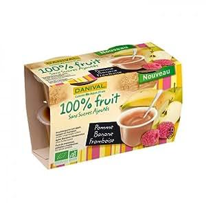 Danival - DANIVAL - Purée pomme, banane & framboise 100% fruit bio 4 x 110 g