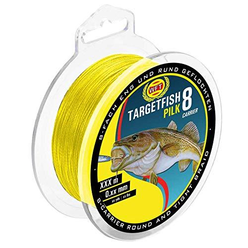 WFT TF8 Pilk gelb 220m - geflochtene Angelschnur zum Meeresangeln, Schnur zum Pilkangeln, Pilkschnur, Dorschschnur, Meeresschnur, Durchmesser/Tragkraft:0.22mm / 20kg Tragkraft