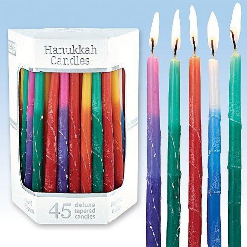Deluxe Konisch Multi Tri Farbige Frosted Chanukka Kerzen für Alle 8Nächte von Chanukah (Multi Farbige Kerzen)