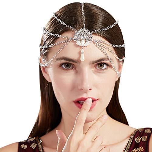 Flapper Haar Kostüm - Coucoland 1920s Stirnband Damen Haar Kette mit Anhänger Retro Hochzeit Braut Haarband Stirnkette Kopfschmuck 20er Jahre Damen Gatsby Fasching Kostüm Zubehör (Silber)