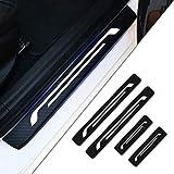 Tuqiang 4 Piezas Umbral De La Puerta Protectores 4D Fibra de Carbono Adhesiva Pegatinas para Clio